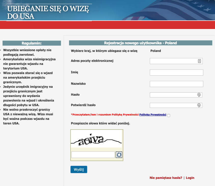 System wyznaczania spotkań z konsulem - wiza do USA.