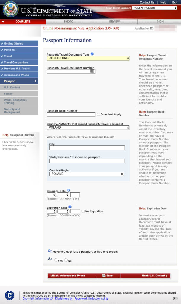 Formularz DS-160 - informacje paszportowe