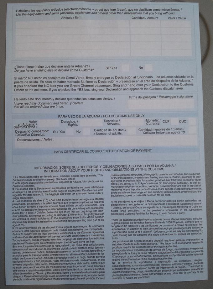 Deklaracja celna na Kubę - formularz, strona 2